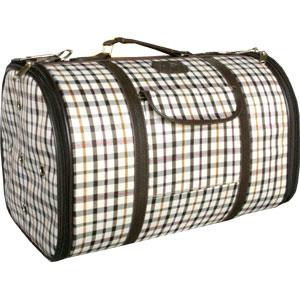 체크무늬 이동가방 (중) - 브라운 강아지이동장 이동가방