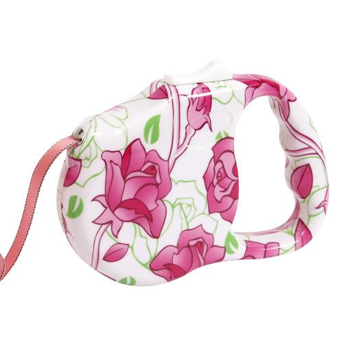 프리고 패션 자동줄미니(S) 3M 장미꽃 애견산책줄 강아지리드줄 애견 고양이 개줄